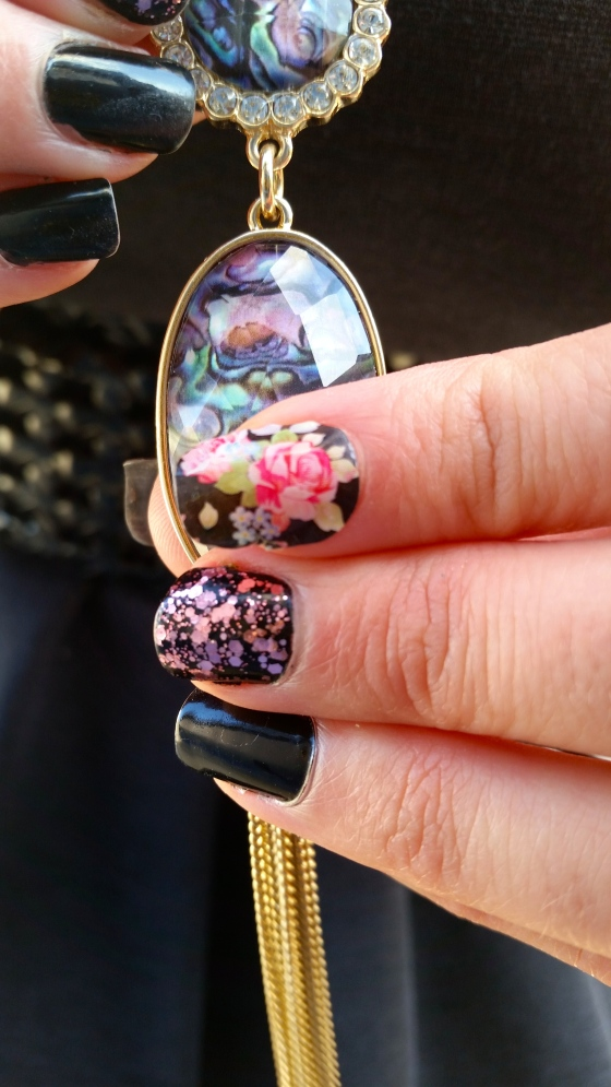 Dark Floral Mani For Fall