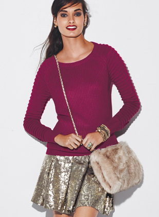 mark. Strike It Rich Skirt and Favorite Wine Sweater