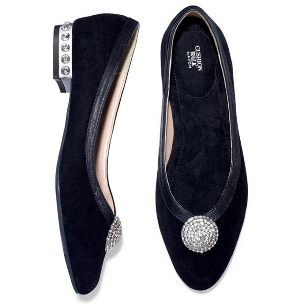 Avon Genuine Suede Jeweled Flat
