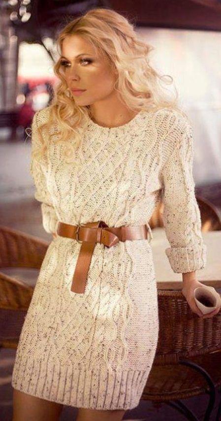 Sweater dress, smokey eye and flats!