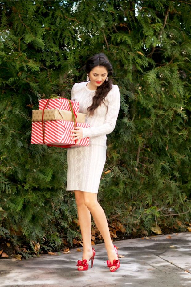 Little White Dress with Holiday Red For Work