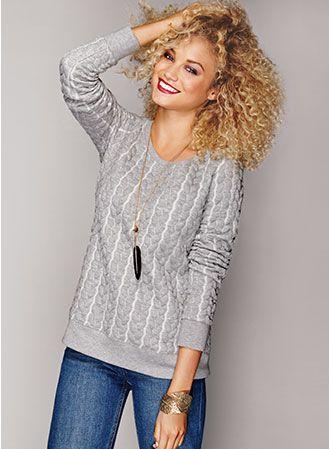 Cable Knit Textures with mark. Cable Channels Sweatshirt