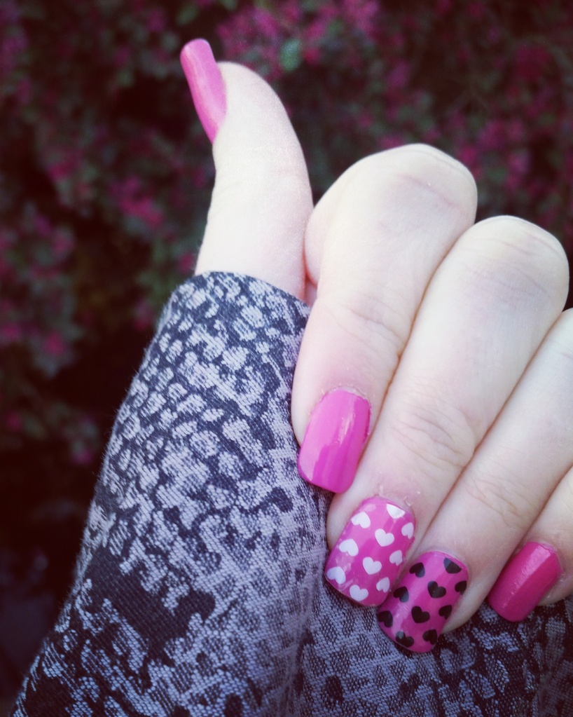 Pink Pop Heart Nails for Mani Monday