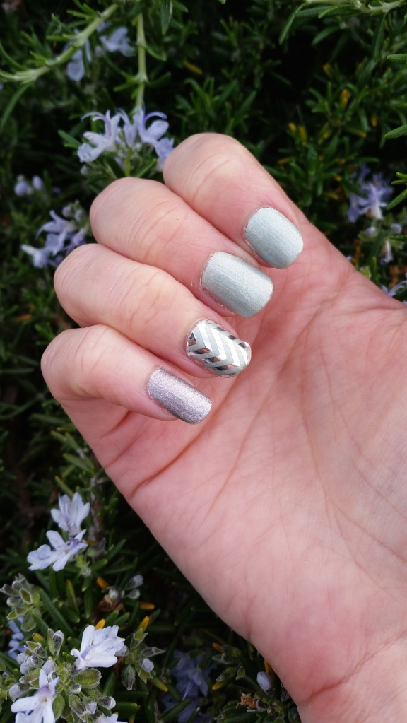 Accent Nail:  Jamberry Silver Chevron