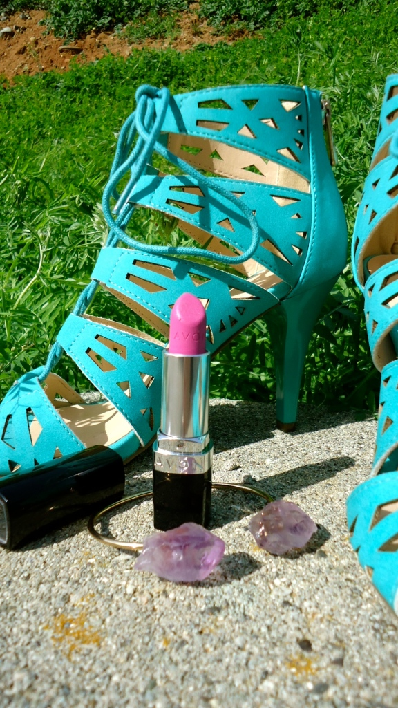Avon Lace Up Fashion Sandal, Avon Perfectly Matte Lipstick and mark. Rock Formation Bracelet
