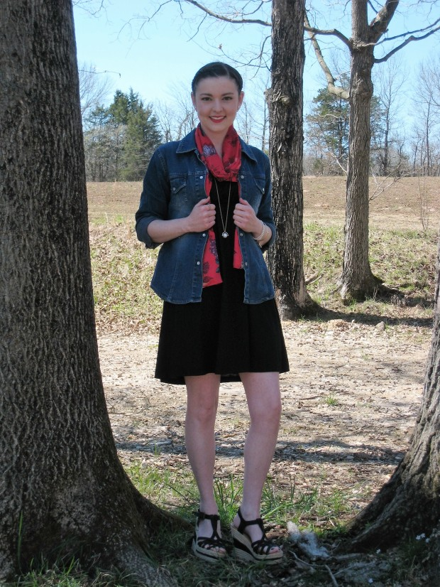 Spring Details With A Spring Scarf, Jacket and Red Lip!