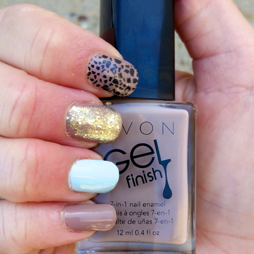 Featuring Essie Borrowed and Blue and Julep Tazeen (glitter)