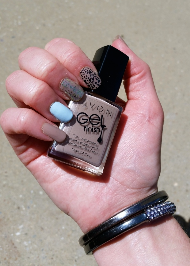 In Full Sun:  Nude, Blue and Leopard Mani