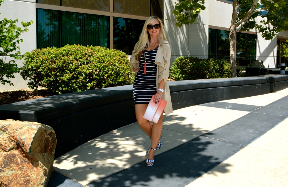 Striped T-shirt Dress, Heels and Soft Trench
