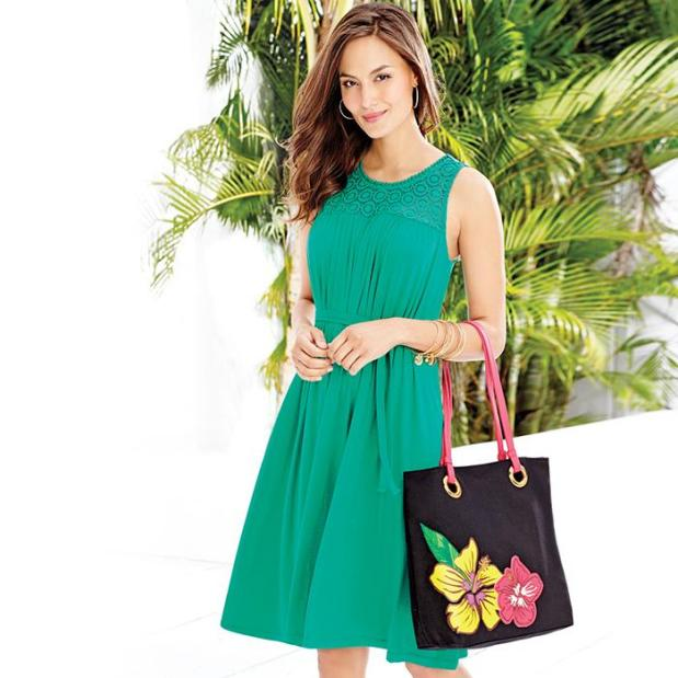 Tropical Greens (Avon Ruched Crochet Dress and Tropical Tote)