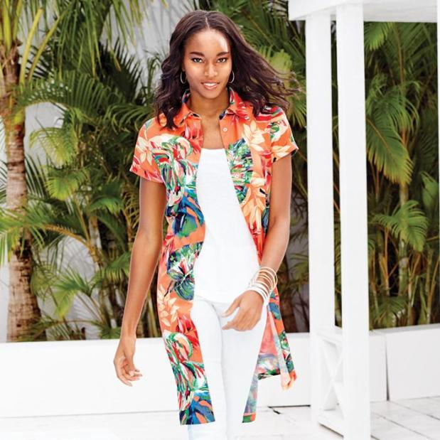 Avon Tropical Shirt Dress Worn Open Like A Duster