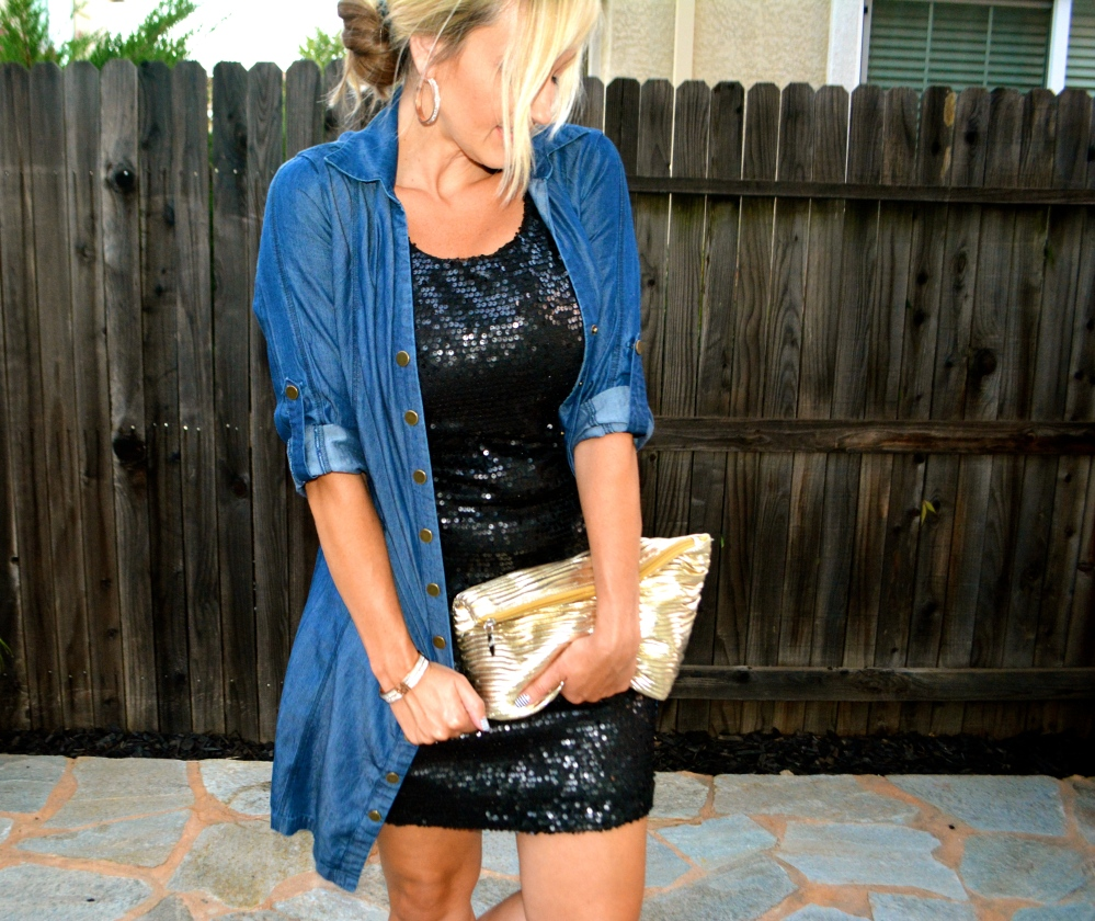 mark. Make Way For Chambray Dress Over Sequins Of Events Dress