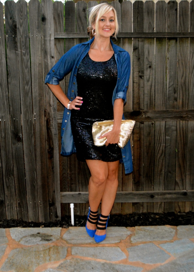 A Casual Sequined Dress Look!