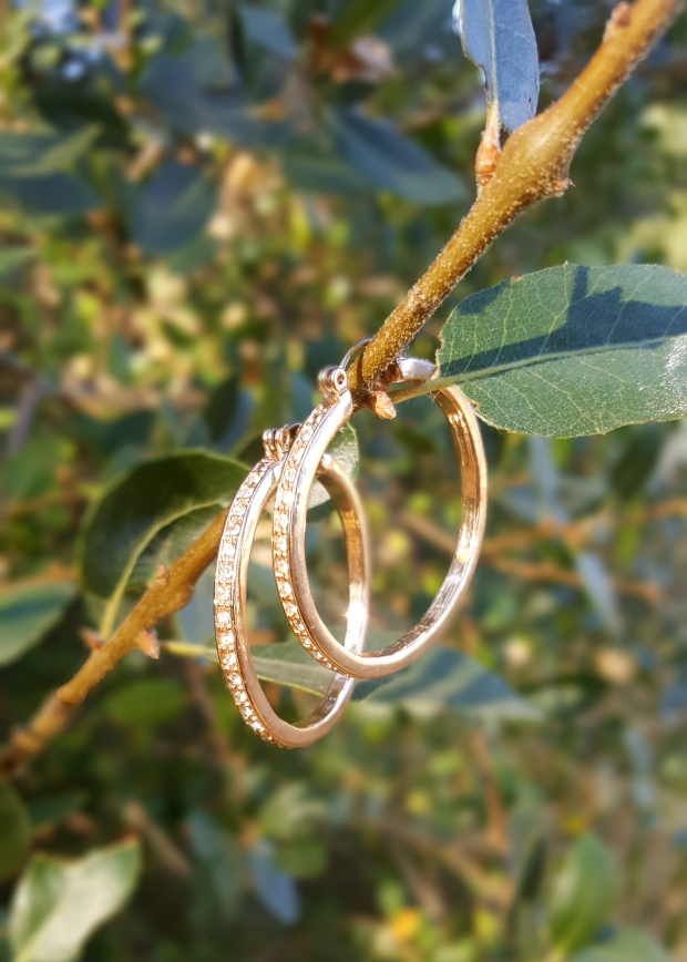 Glitzy Hoop Earrings in Rosegold