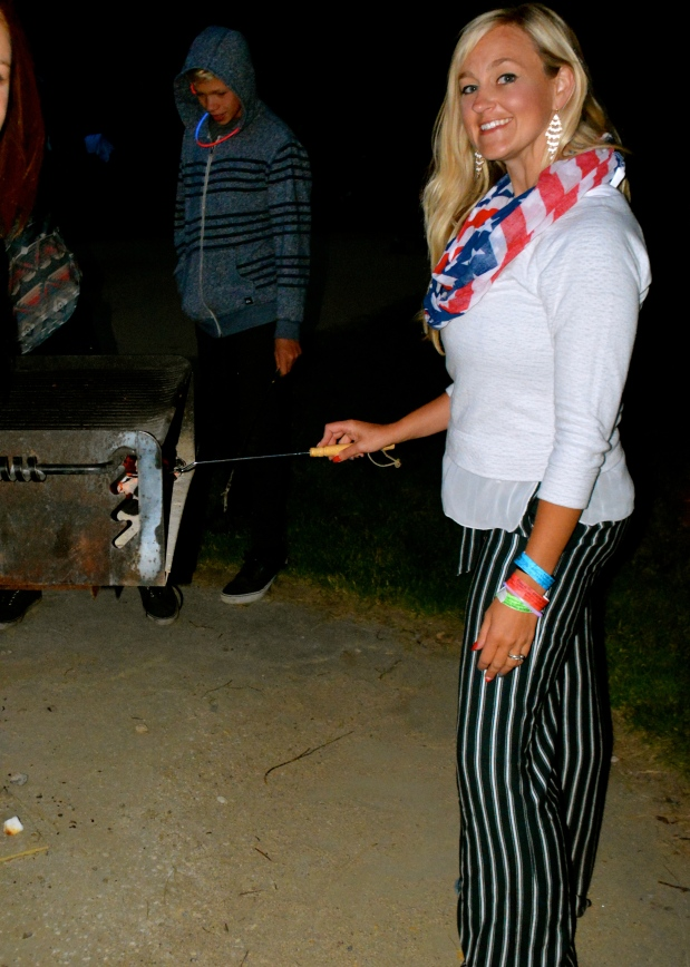 Toasting some s'mores in my nautical blues!