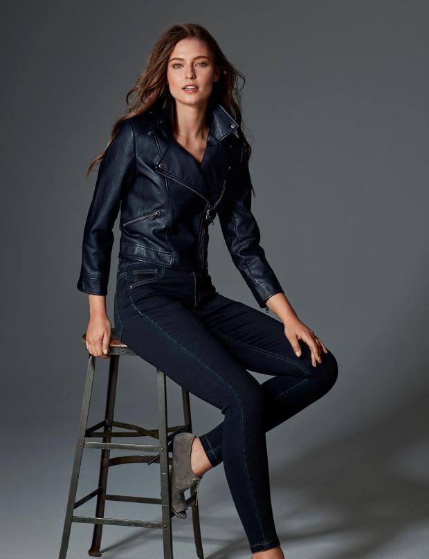 The Limited Navy Leather Jacket