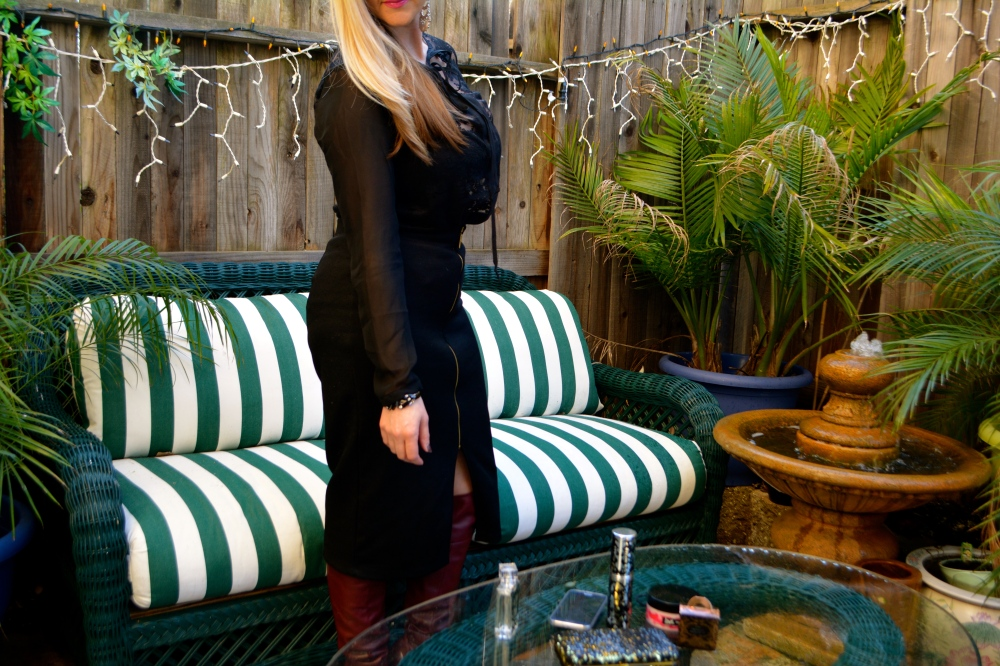 Pencil Skirt, Sheer Blouse, Over The Knee Boots