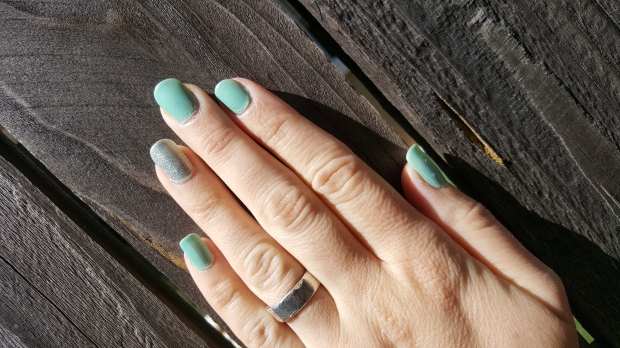 Turquoise Nails and Silver Halo Accent