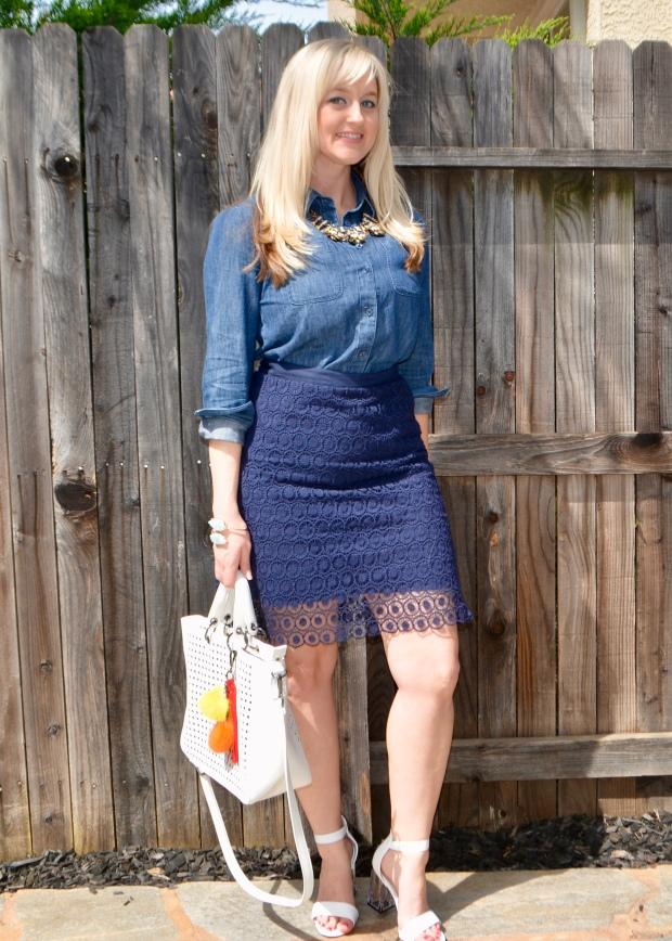 Navy Crochet Skirt From Loft Outlet