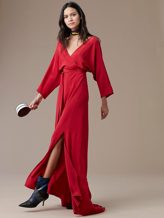 DVF Long Sleeve Floor Length Wrap Dress