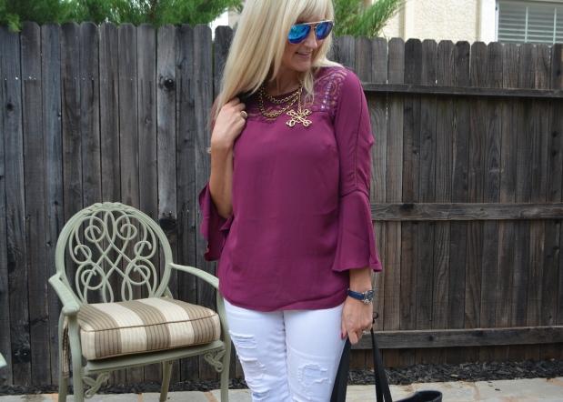 Avon Lace Trim Bell Sleeve Blouse