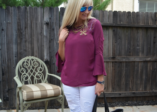Avon Lace Trim Bell Sleeve Blouse