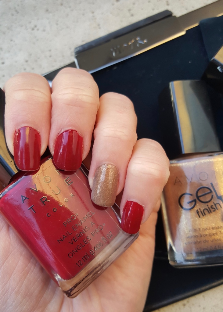 Red and Gold Holiday Mani