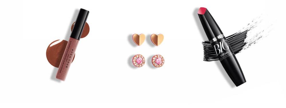 Gloss, earrings, mascara