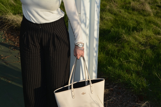 Pinstripes, Arm Party and a killer Tote